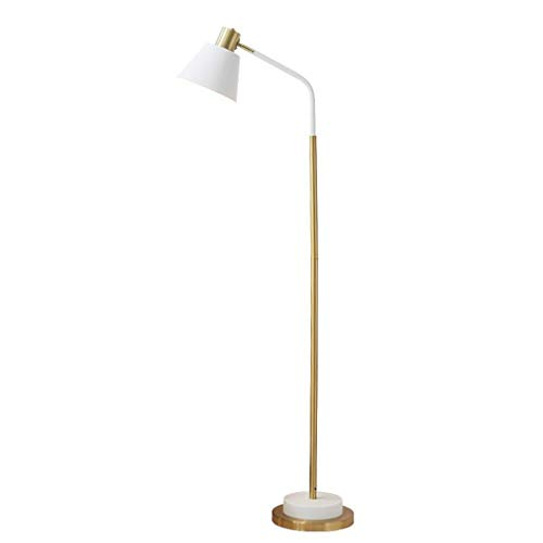 WJLL Lámpara de pie Minimalista Moderna de Hierro Forjado lámpara de pie giratoria de 360 ° lámpara de pie de diseño de Base de Cobre galvanizado Lámpara de Suelo de Lectura de Aprendizaje,Blanco