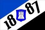 Hamburg 1887 mit Wappen Fussball Fahne Flagge Grösse 1,50x0,90m - FRIP –Versand