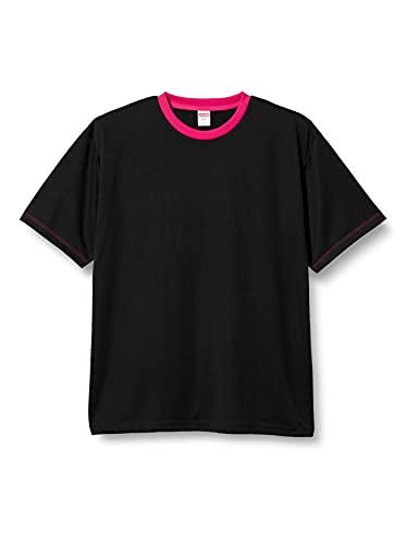 [ユナイテッドアスレ] フィットネス シャツ 4.1oz ドライアスレチックTシャツ メンズ ブラック/トロピカルピンク 日本 XXXL-(日本サイズ4L相当)