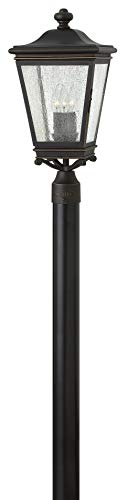 Hinkley Lincoln Collection Traditional Three Light Large Outdoor Post Top/Pier Mount, Oil Rubbed Bronze
