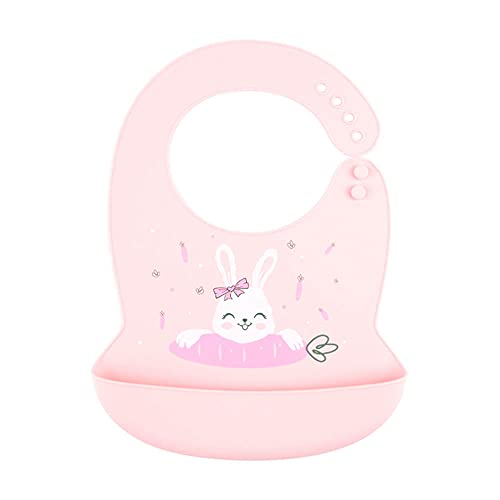 KM Collection Baby Silicon Bibs Easily to Clean, Adjustable for Toddlers, 100% Food Grade, Eco Friendly & Washable (Pink Rabbit)