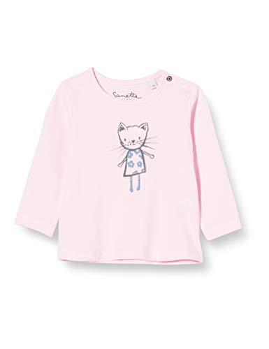 Sanetta Baby-Mädchen rosa Langarm-Shirt Off-White mit niedlichem Emma The cat Print auf der Brust Kidswear, 062