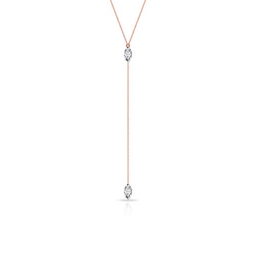 Rosec Jewels - 18 Karat Rotgold Markise Leicht Getöntes Weiß/Top Crystal (I) Diamant