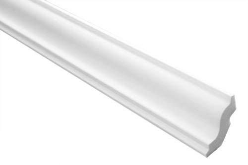 Zierleisten Sparpaket E-22 | leicht und stabil | extrudiertes Styropor | Stuckprofile | Decken-/ und Wandübergang | modern weiß | dekorativ | XPS | 30 x 31 mm | 50 Meter