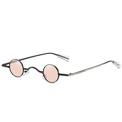 Gafas de Sol Sunglasses Trending Wide Bridge Retro Rock Punk Gafas De Sol Clásico Pequeño Redondo Red Sunglasses Ladies Shades Street Photo C4Blackpink