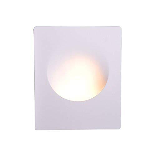 Isolicht LED Wand-Einbauleuchte aus Gips, Treppenbeleuchtung, Wandeinbaulicht, Einbau, quadratisch/rund oder länglich, GU10 oder GU4/MR11 Fassung (Gips/weiß, rund, GU10, große Öffnung)