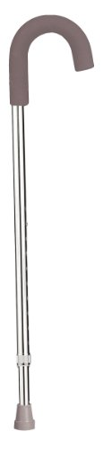 Drive Medical Aluminum Round Handle Cane with Foam Grip, Silver(Foam Color may vary)