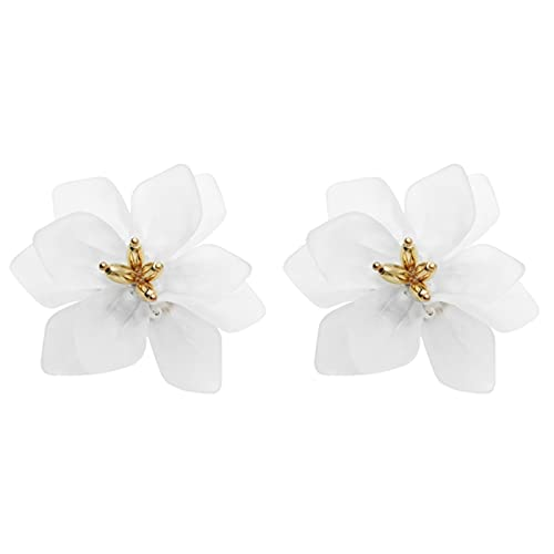 SALAN Pendientes De Flores Hipérbole Mujer Acrílico Grandes Pendientes De Vacaciones De Flores Blancas Naranjas Verdes
