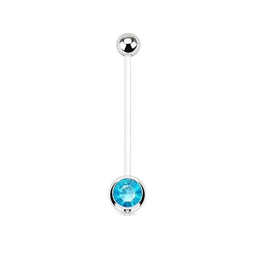 Gekko Body Jewellery Bauchnabelpiercing Schwangerschaftsbandage mit Aqua Gem Ball BioFlex flexibel