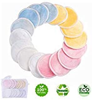 Reusable Makeup Remover Pads - Natural Bamboo Cotton Rounds for Eye Makeup Remove Face Wipe - Round Cleansing Cloths with Laundry Bag 16 Packs