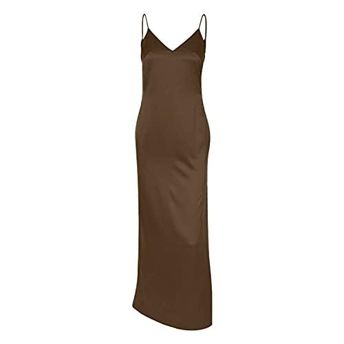TENGKEJPN セクシーなサテンVネックオープンバックロングドレス女性ノースリーブスパゲッティストラップサイドスリットドレス (Color : G, Size : Large)