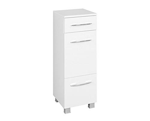 lifestyle4living Badezimmerschrank in Weiß, schmal | Halbhoher Unterschrank mit 1 Tür, 1 Schubkasten, 1 Auszug und 1 Einlegeboden