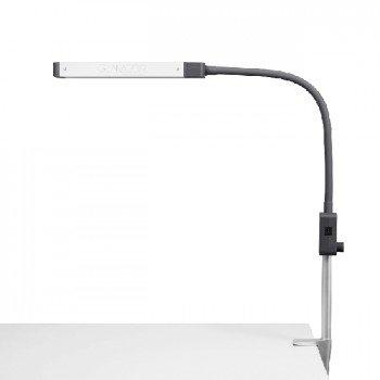 Glamcor REVEAL, lámpara LED de luz diurna con un brazo flexible y abrazadera, 5 etapas de atenuación, liviana, 20,000 horas, ideal para técnicos móviles, extensiones de pestañas, salones de belleza