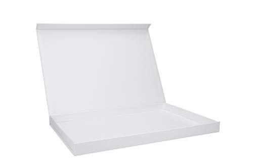 Magnetbox (A4) 30x21x2cm hochwertige Geschenkverpackung für Dokumente, Geburtstag, Weihnachten, Hochzeit Geschenke Schachtel, Artikel Farbe:weiß matt