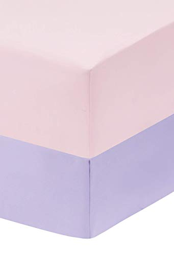 Everyday Kids 2-Pack Fitted Crib Sheets, 100% Soft Breathable Microfiber Baby Sheet, Fits Standard Size Crib Mattress 28in x 52in, Lavender Nursery Sheet and Pink Nursery Sheet