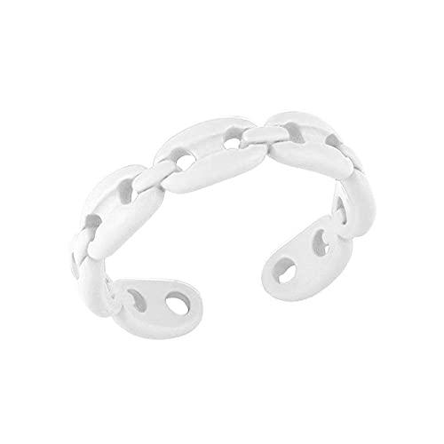 Ajustable nudillo mujeres regalo caramelo color anillo abierto dedo anillo par (blanco)