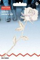 Motif br rose stylisée, blanc