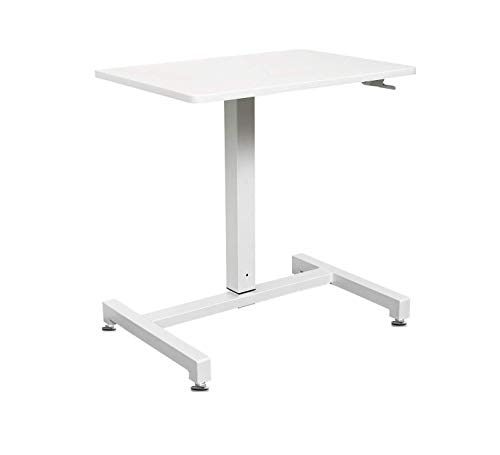 YULUKIA 100001 Air Lift Höhenverstellbarer Schreibtisch, Gaming Tisch, Workstation, White