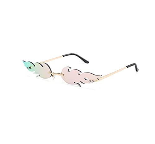 Gafas de sol de ojo de gato de lujo para mujer, estilo vintage, sin montura de llama de fuego, gafas de sol de tendencia espejo lente estrecha UV400 (color rosa