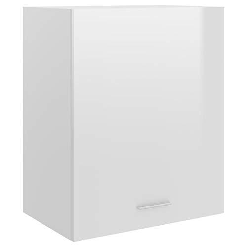 vidaXL Mueble de Cocina Armario Mobiliario Duradero Mesa Trabajo Almacenamiento Cuencos Platos Ollas Alacena Aglomerado Blanco Brillante 50x31x60 cm