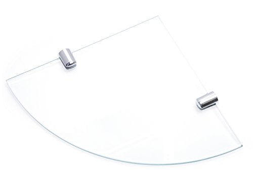 150mm 6' approx 6mm thickness Toughened Glass Corner Shelf for Bathroom Bedroom Office with Chrome...