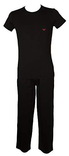 Emporio Armani Pijamas Hombre Manga Breve Pantalones Largos artículo 111035+111043 3A597, 00020 Nero - Black, M