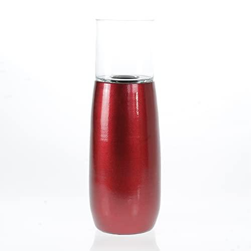 Portavelas moderno de cerámica y cristal, color rojo metálico, altura 40 cm + cristal 16 x 20 cm