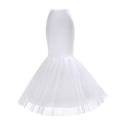 Amosfun Sirena Cola de pez Enagua Deslizamiento hasta el Suelo underkirt Crinolina para Novia Mujer Vestido de Novia Blanco