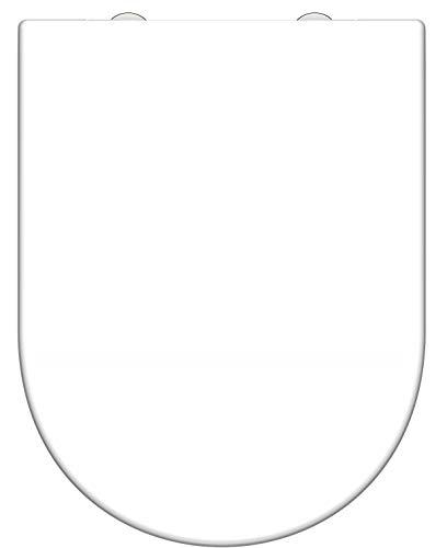 SCHÜTTE WC Sitz Duroplast D Form, Toilettensitz mit Absenkautomatik und Schnellverschluss für die einfache Reinigung, maximale Belastung der Klobrille 150 kg Weiß 82910