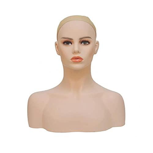 RUIXFLR Tête De Mannequin Femme avec épaule, Maquillage Naturel Tête De Mannequin Réaliste pour Perruques Boucles d'oreilles écharpes Collier Affichage