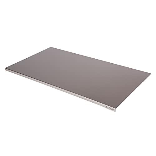 CECILUÌ Spianatoia per Impastare Acciaio Inox in REGALO Sacca di Cotone Tagliere da Cucina Professionale in Varie Dimensioni Taglieri Pizza Piano Lavoro Tavoli (70x50cm bordo 2cm)