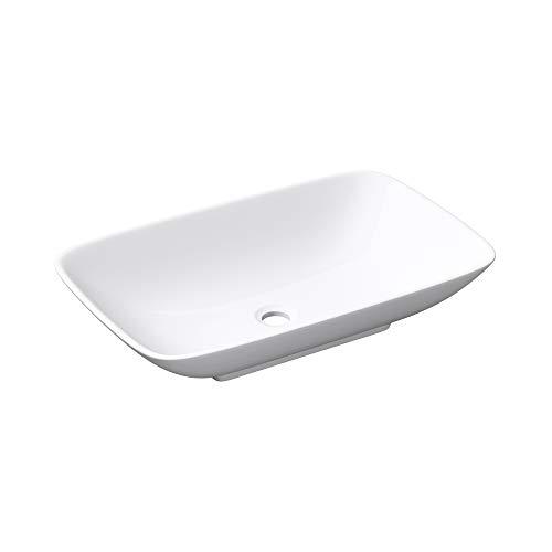 Mai & Mai Lavamanos 58x37x10cm Lavabo Rectangular de Cerámica Blanco sin Orificio para Grifería sin Rebosadero BR159