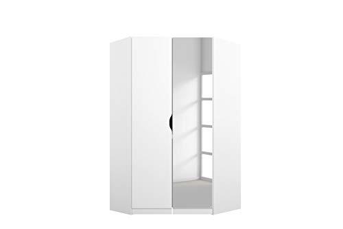 Rauch Möbel Alvara Eckschrank Kleiderschrank Schrank in Weiß mit Spiegel 2-türig inklusive Zubehörpaket Basic 2 Kleiderstangen, 5 Einlegeböden BxHxT 117x197x104 cm