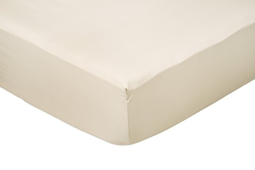 AmazonBasics Spannbetttuch, Baumwoll, Satin Fadenzahl 400, knitterarm, 140 x 200 x 30 cm - beige