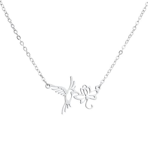 Flor de la aleación de las mujeres Colgante Collar Colgante Colgante Cadena de clavícula Swallow Pájaro Collar Collar 18'