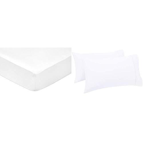Amazon Basics - Sábana Bajera Ajustable (algodón satén 400 Hilos, Antiarrugas) Blanco - 160 x 200 x 30 cm + Set de 2 Fundas de Almohada de 400 Hilos, 50 x 80 cm - Blanco