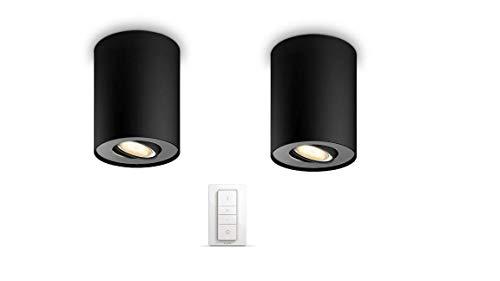 Philips Luminaire télécommandé Pillar Spot Hue 2 têtes - Noir (télécommande incluse)...