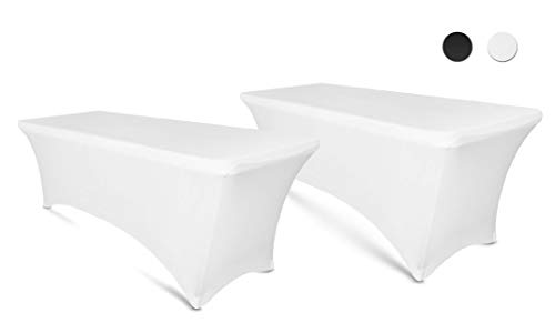 6ft Tablecloth Rectangular Spandex Linen - White Table Cloth Fitted Cover for 6 Foot Folding Table, Wedding Linens Banquet Cloths Rectangle Covers (2 Pack)