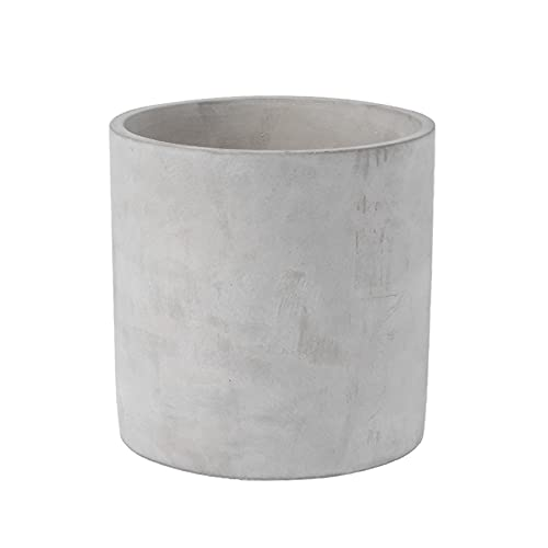 8 Inch Cement Planter Pot - Large Planter Pots for Plants Outdoor, Home Decor, Office & Indoor, Modern Cylinder Container with Watering Drainage (Plants NOT Included)