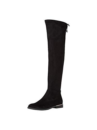 Tamaris Damen Stiefel, Frauen Overknee Stiefel, Women's Women Woman Freizeit leger Overknee-Boots lederstiefel Flacher Absatz,Black,37 EU / 4 UK