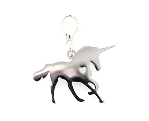 Miniblings Unicorn Unicorn Charm Fantasy Cuore in Acciaio Inox - Gioielli Fatto a Mano placcati Argento I Ciondoli - Braccialetto di Fascino - Ciondolo per Il Braccialetto