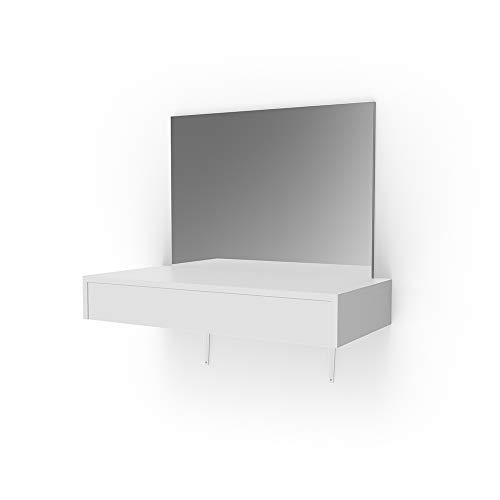 Vicco Schminktisch Alessia Weiß wandhängend - Frisiertisch Kommode Spiegel +++ Schminkkommode mit großen Schubfächer und riesigen Spiegel +++
