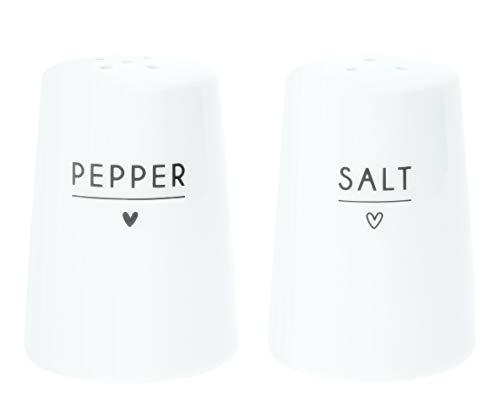 Bastion Collections Salz und Pfeffer Streuer mit schwarzer Schrift