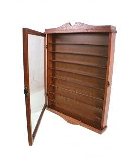 CAL FUSTER Vitrina Porta dedales de Madera Maciza de Cedro Color Avellana Expositor para Pared decoración hogar. Medidas: 53x41x6 cm.