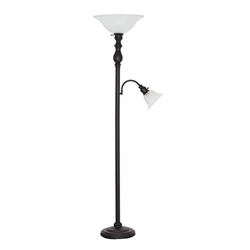 Amazon Brand – Ravenna Home Torchiere Standing Floor Lamp with Reading Light and LED Light Bulbs - 69.75'H, Dark Bronze with Frosted Glass