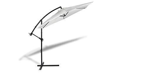 909 OUTDOOR Ampelschirm für Terrasse, Balkon und Garten Creme Ø 300 cm, Verstellbarer Sonnenschirm mit Fußkreuz und Kurbel, Gartenschirm aus Polyester & Stahl