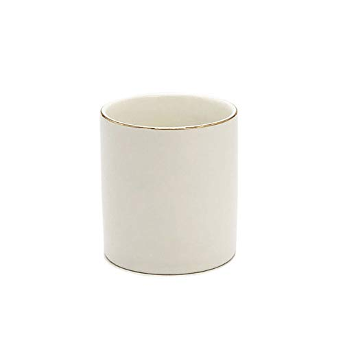 Ceramic Pen Cup Pencil Organizer for Desk Makeup Brushes Holder, White