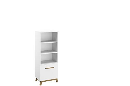 Rauch Möbel Carlsson Regal Regalelement in Weiß, Griffe/Füße Eiche Massiv, inklusive 2 Einlegeböden, BxHxT 47x127x42 cm