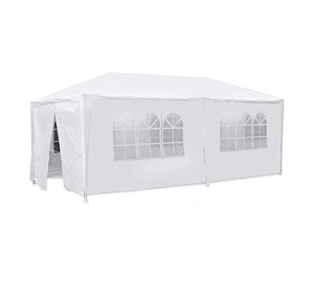 Best Sunshine 10' x 20' White Canopy Party Wedding Tent Heavy Duty Outdoor Gazebo BBQ Shelter Pavilion with 6 Removable sidewalls