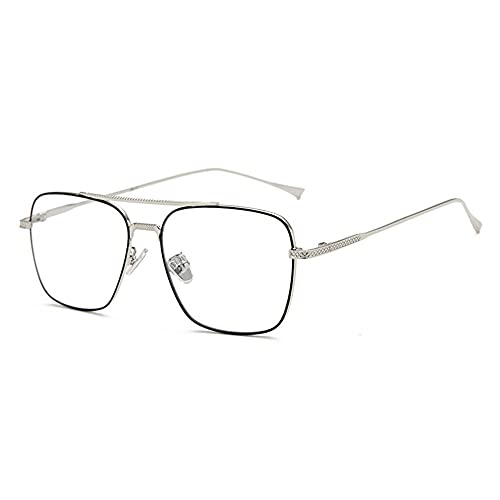 LSJA0 gafas luz azul transparente Anti-Radiación Anti-UV Eye Eye TV Pantalla plana Gafas-Negro y plata